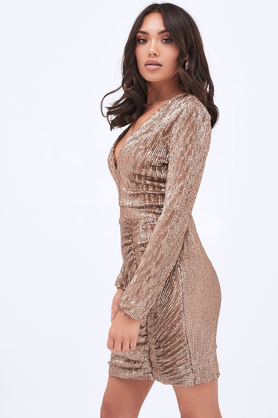 Iridescent Sequin Mini Dress in Gold