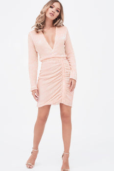 Pleated Sequin Ruched Side Mini Dress In Pink