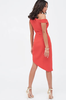 One Shoulder Tailored Wrap Dress With Button Detail in Red