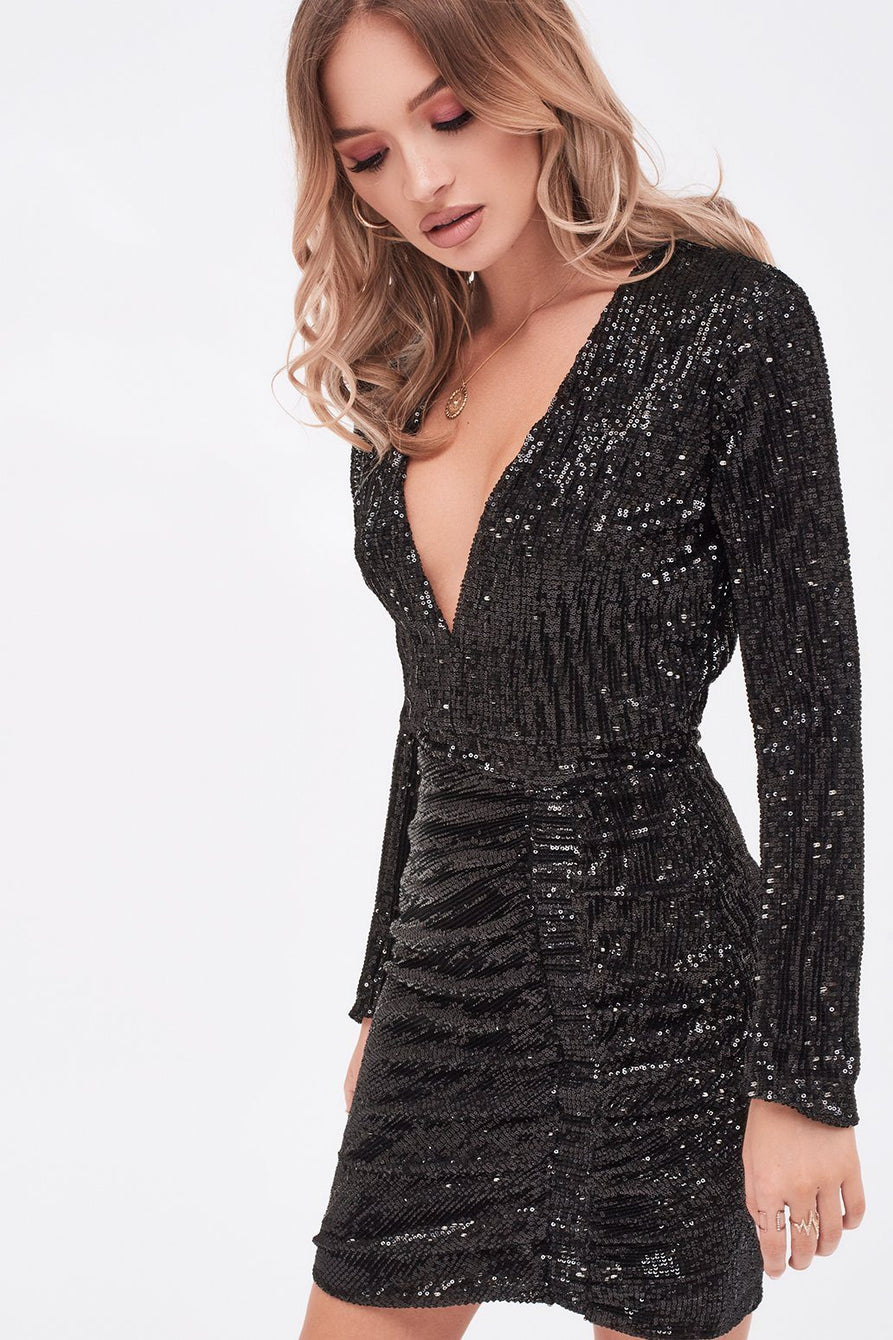 Iridescent Sequin Mini Dress in Black