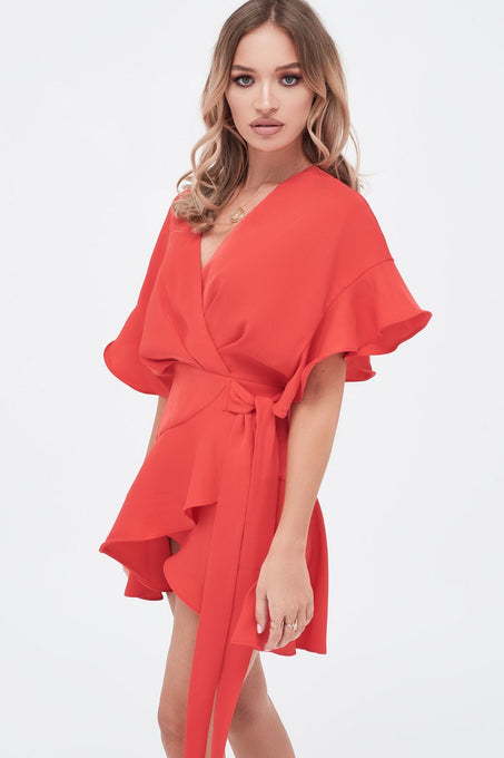 Frill Sleeve Wrap Mini Dress In Scarlet Red