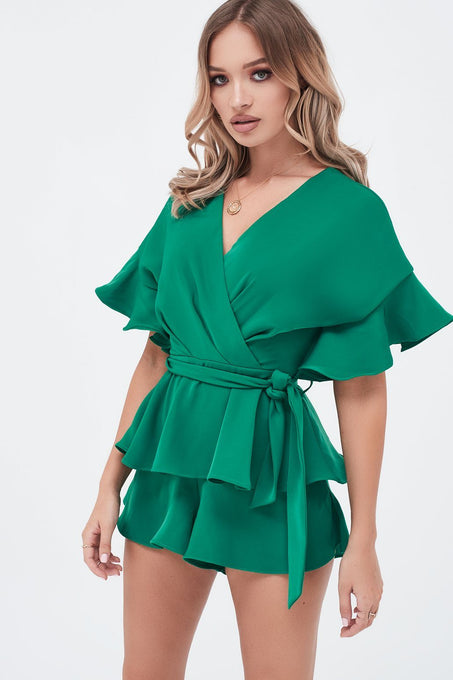 Frill Double Tiered Playsuit In Emerald Green