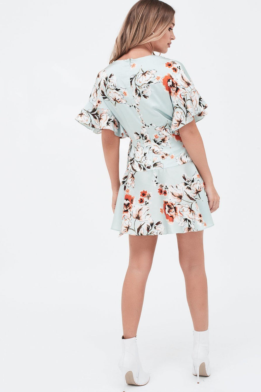 Frill Sleeve Wrap Mini Dress In Floral Print