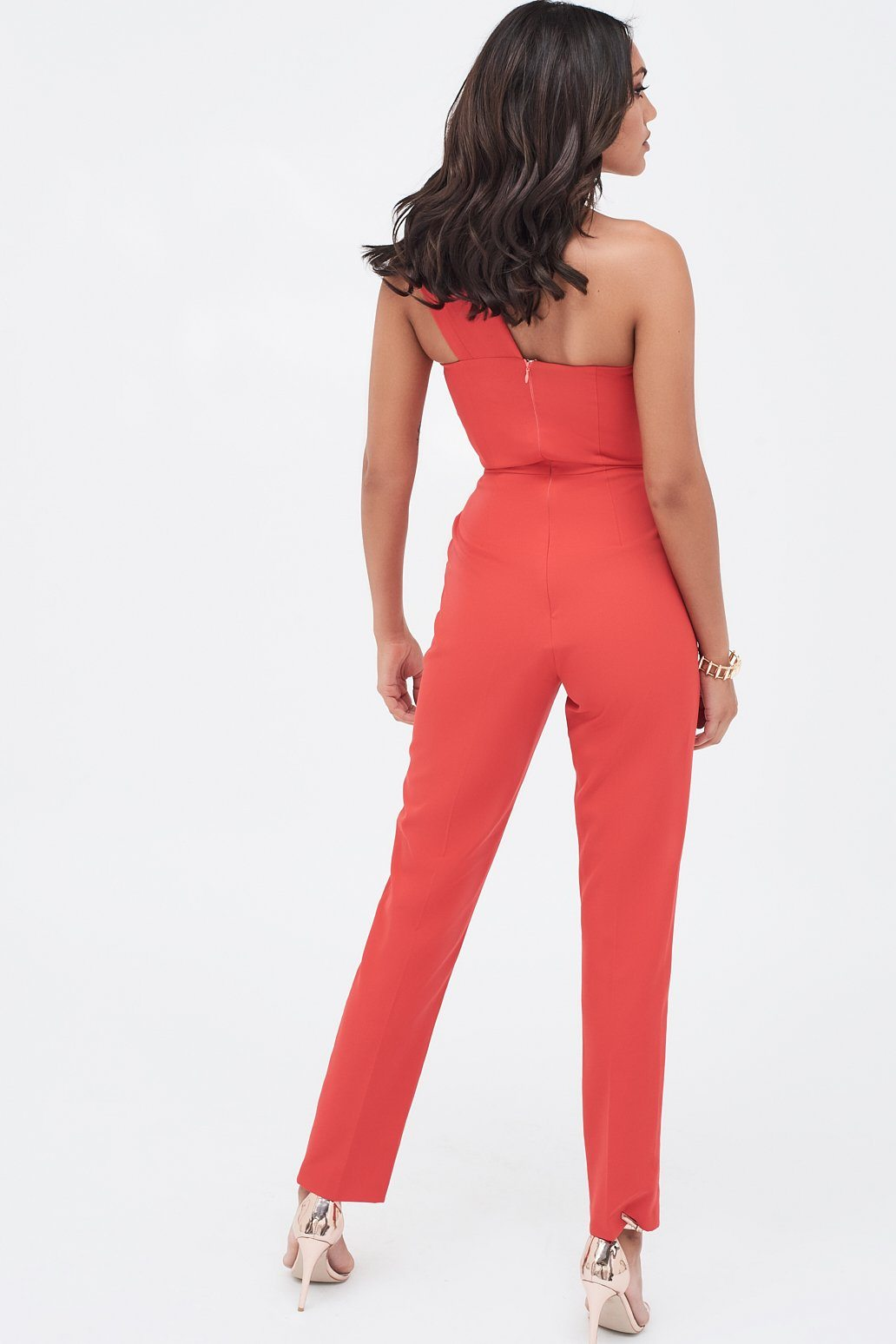 Double Layer Lapel One Shoulder Tailored Jumpsuit in Red