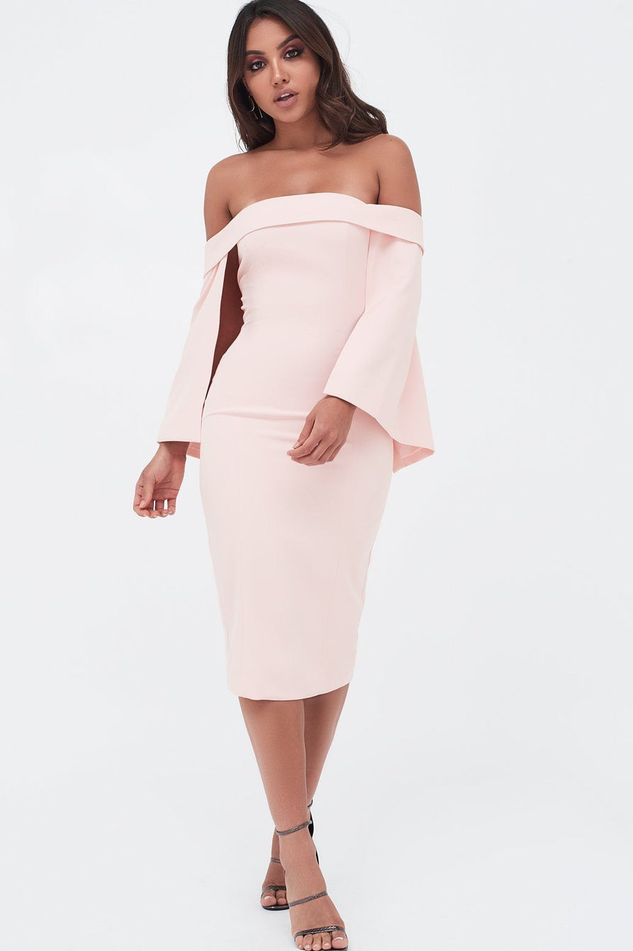 Bardot Cape Midi Dress In Nude