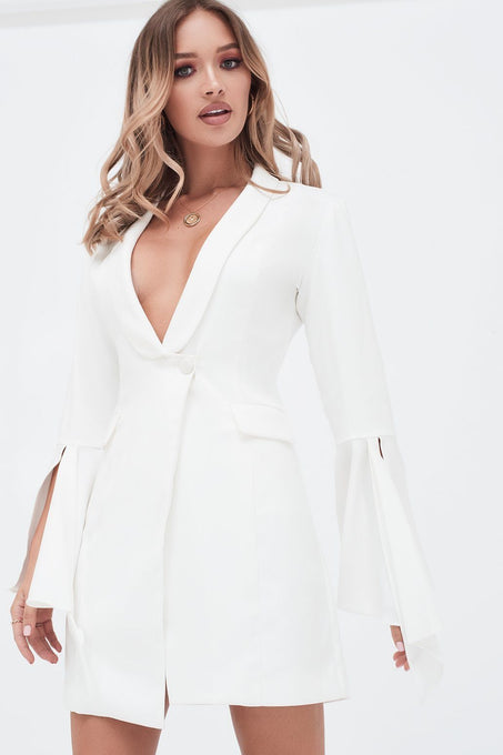 Dropped Frill Bell Sleeve Blazer Dress in White