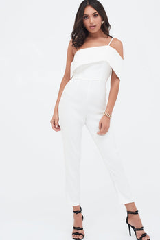 Single Strap One Shoulder Tapered Leg Jumpsuit in White