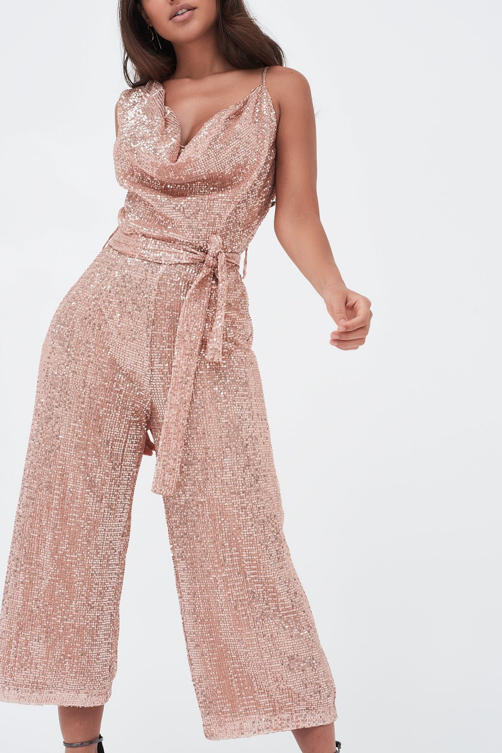 Pleated Sequin Cowl Neck Culotte Jumpsuit In Pink