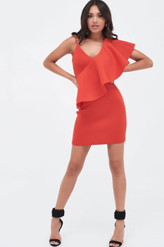 Exaggerated One Shoulder Frill Scuba Mini Dress In Scarlet Red