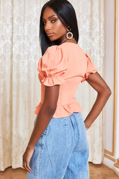 Underwired Corset Puff Sleeve Top in Cantaloupe