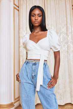 Pre-Order Short Puff Sleeve Cropped Top in White