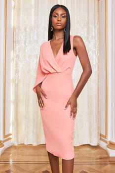 One Shoulder Caped Midi Dress in Cantaloupe