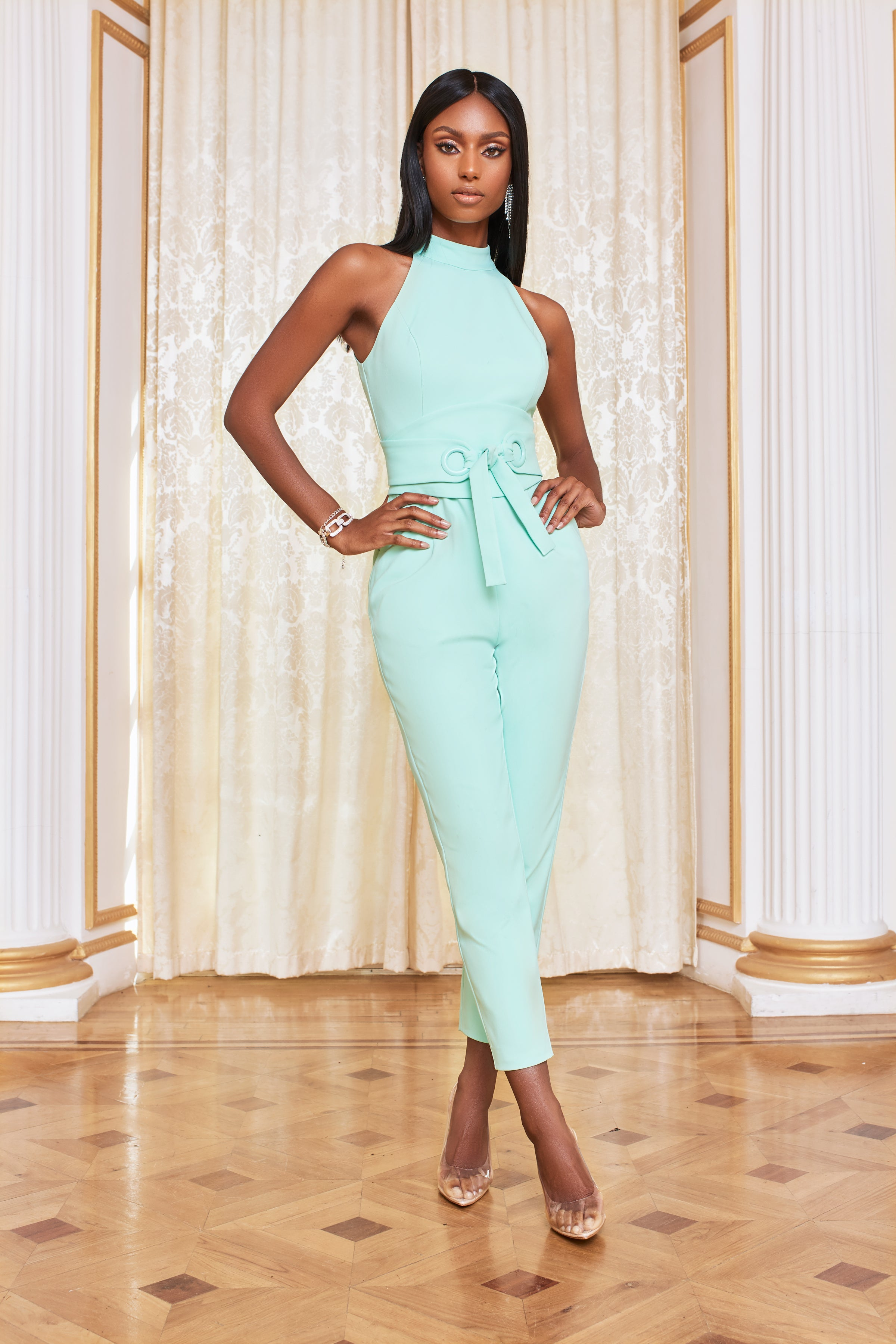 Lavish Alice Eyelet Belted High Neck Jumpsuit in Neo Mint Jumpsuits & Playsuit