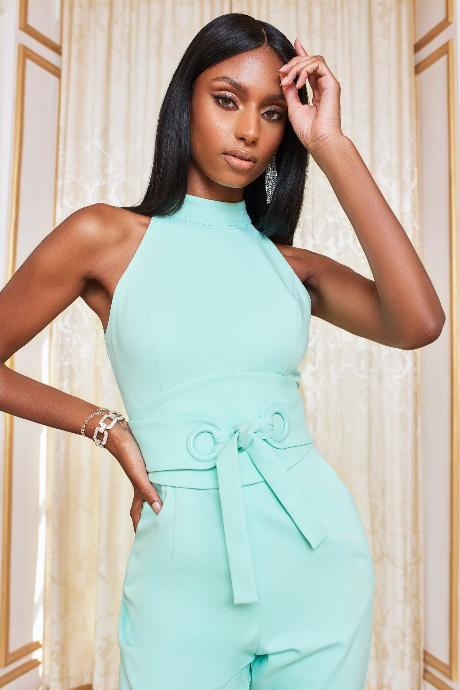 Eyelet Belted High Neck Jumpsuit in Neo Mint