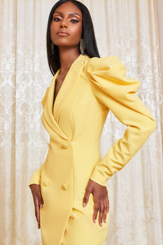 Cowl Sleeve Mini Blazer Dress in Lemon Yellow