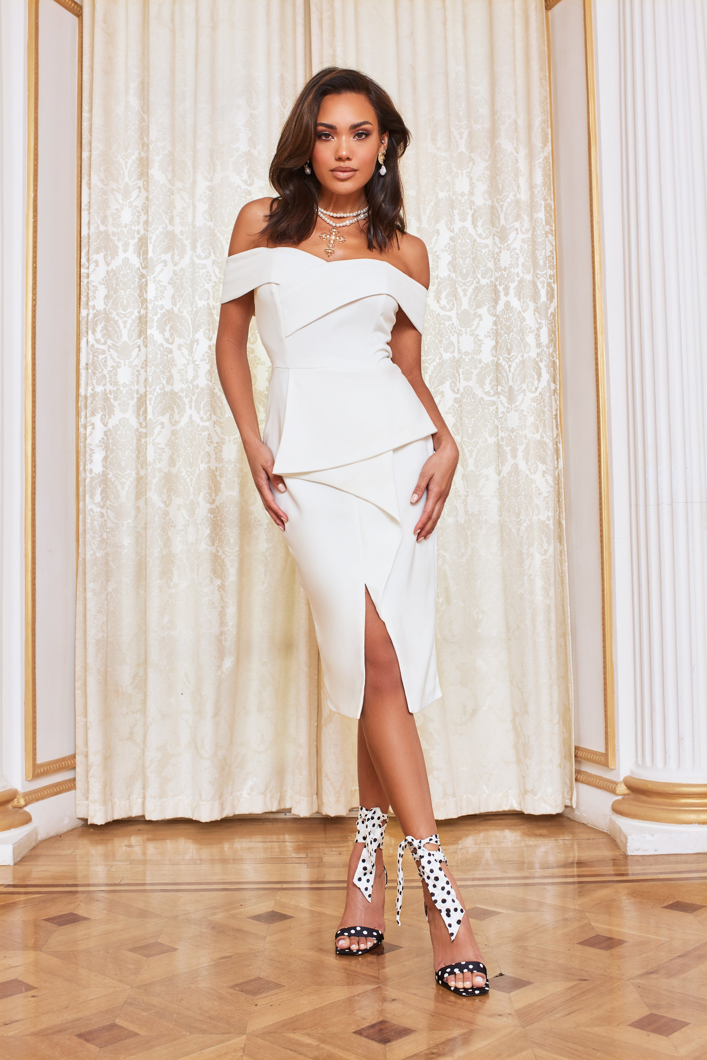 Lavish Alice Double Bardot Midi Dress in White