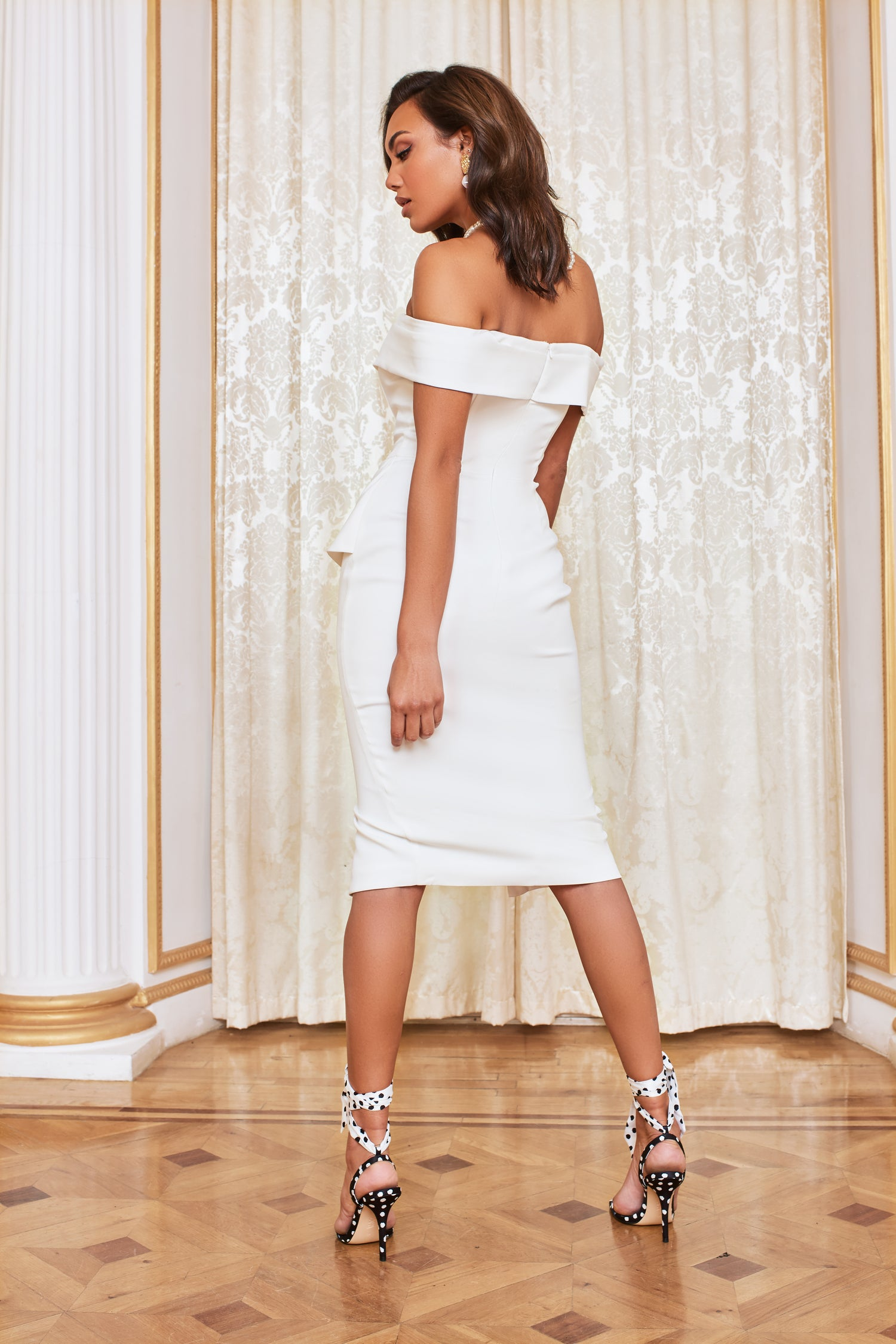 Double Bardot Midi Dress in White