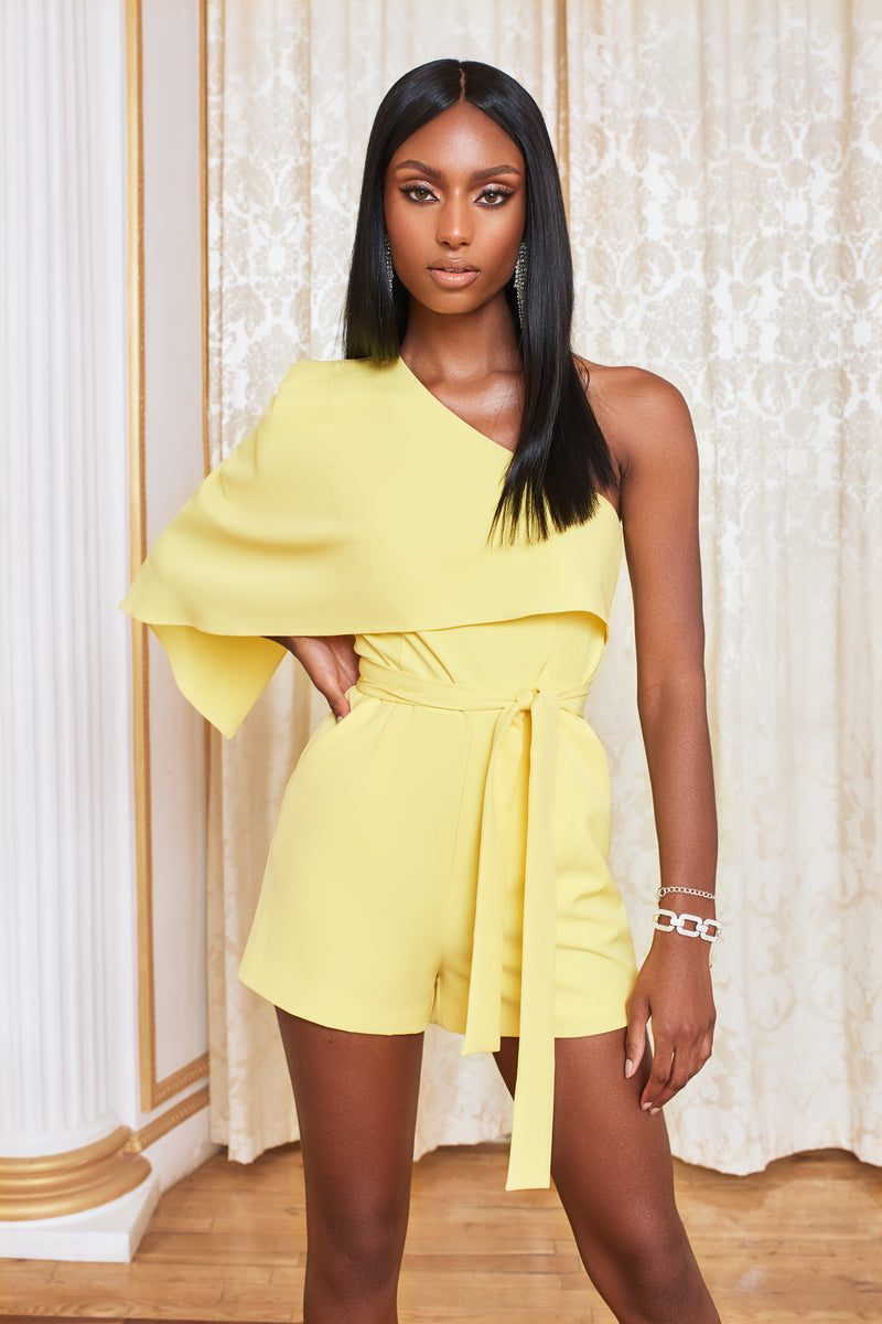 One Shoulder Cape Playsuit in Lemon Yellow
