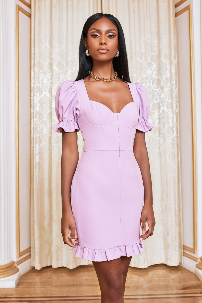 Pre-Order Underwired Corset Puff Sleeve Mini Dress in Pastel Purple