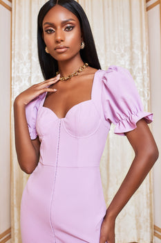 Underwired Corset Puff Sleeve Mini Dress in Pastel Purple