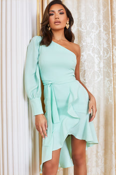 Pre-Order One Shoulder Dress in Neo Mint