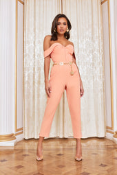 Bustier Corset Jumpsuit in Cantaloupe