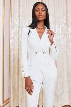 Silver Popper Detail Blazer in White