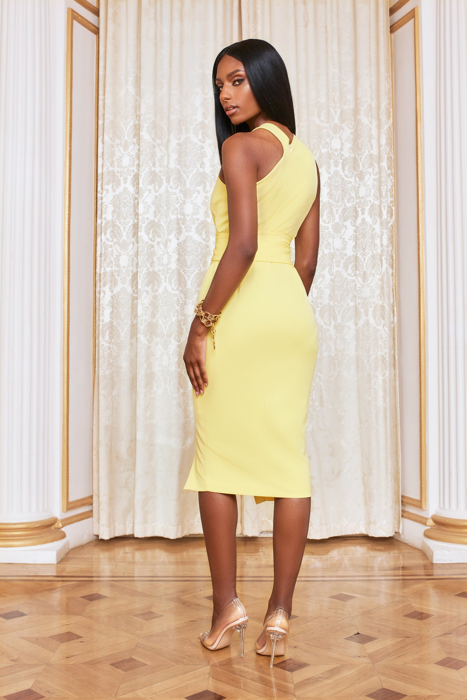 Eyelet Belted Halterneck Midi Dress in Lemon Yellow