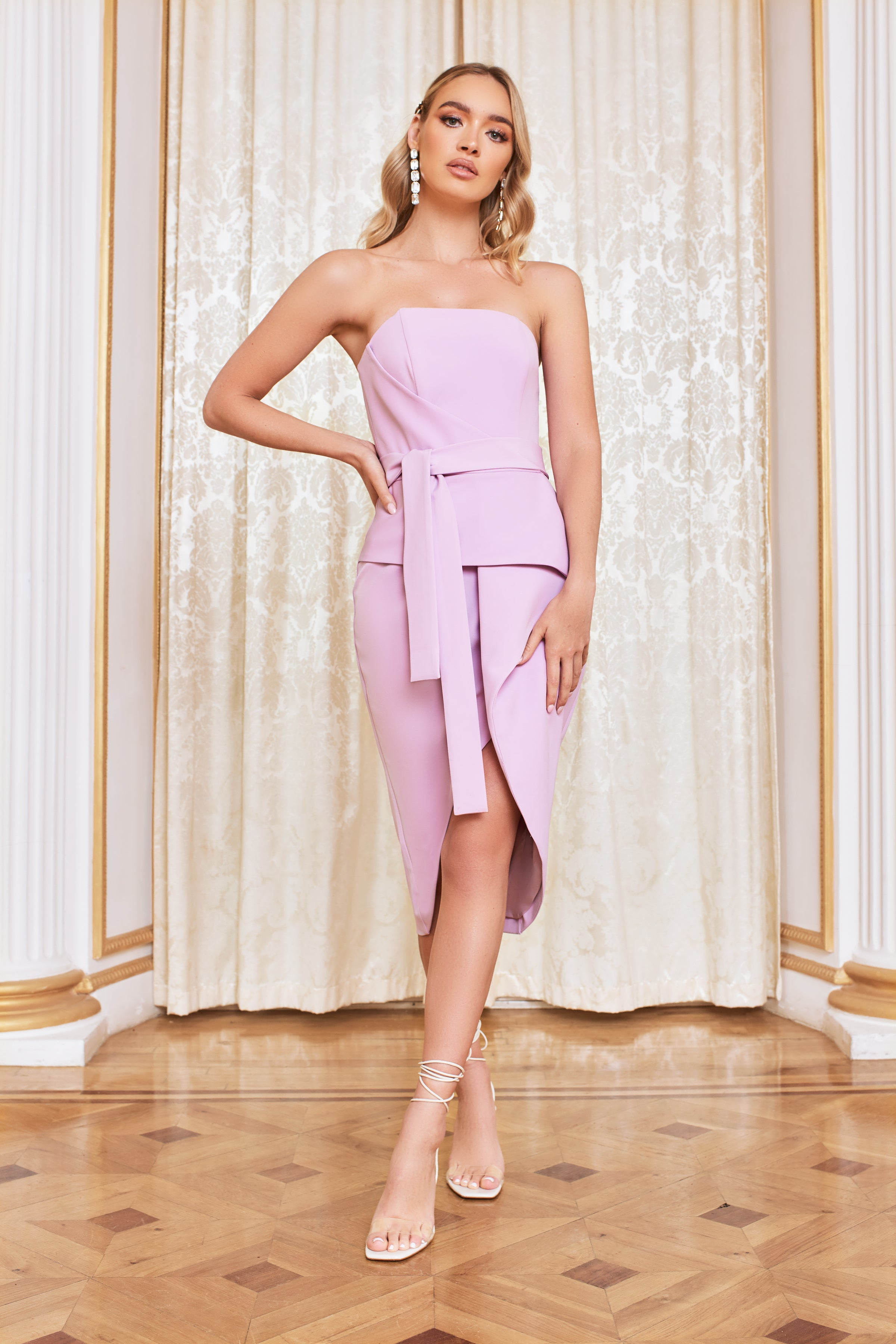 Lavish Alice Bandeau Origami Midi Dress in Pastel Purple
