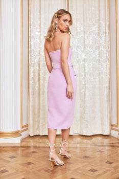 Bandeau Origami Midi Dress in Pastel Purple