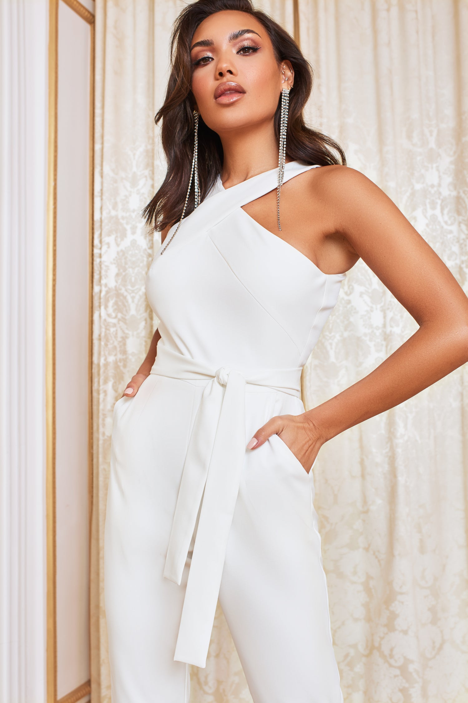 Halter Neck Tailored Jumpsuit in White