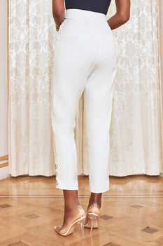 Metal Popper Detail Trouser in White