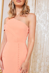 One Shoulder Micro Button Mini Dress in Cantaloupe