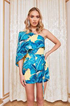 One Shoulder Cape Playsuit in Yellow Palm