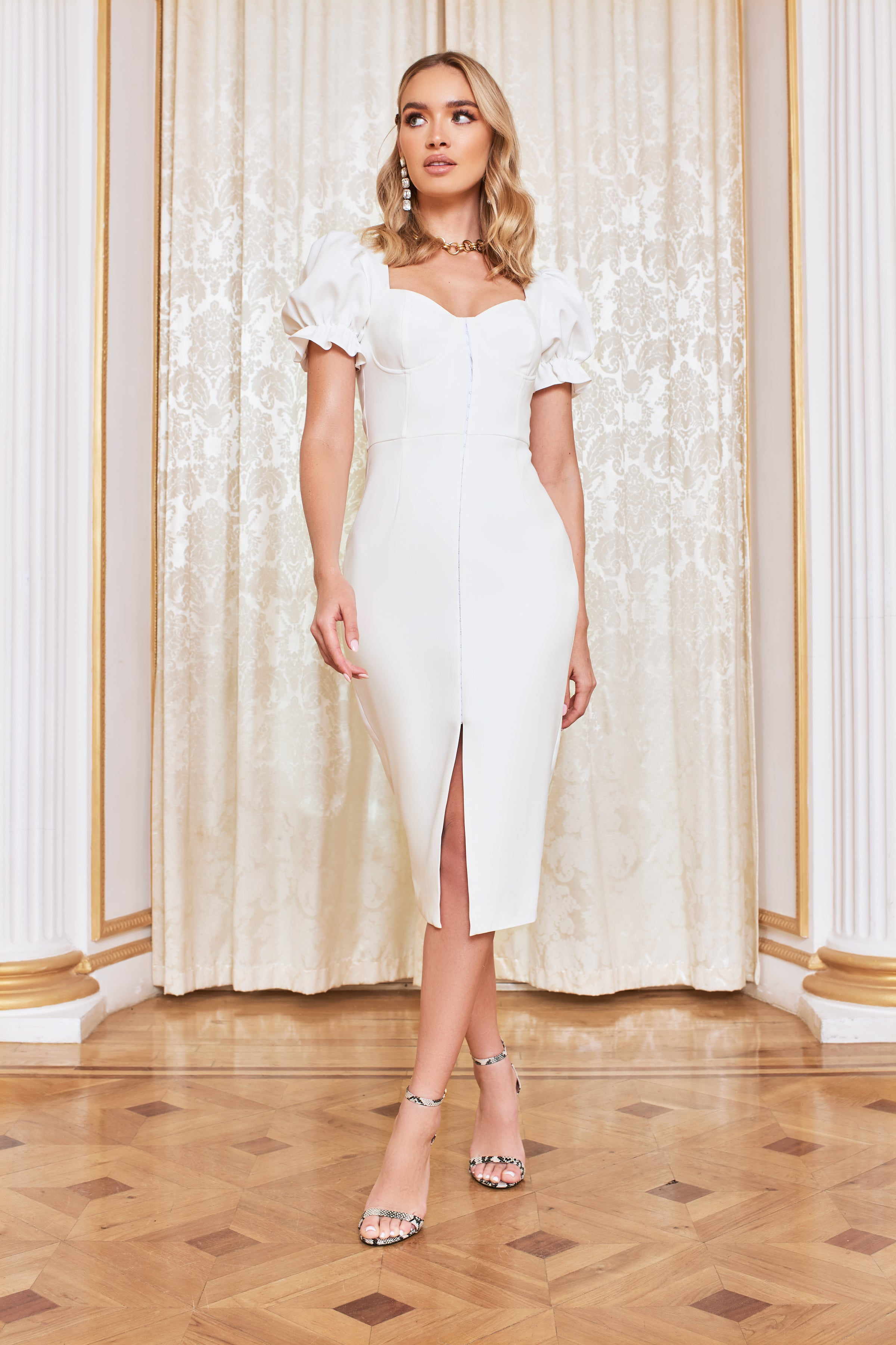 Lavish Alice Underwired Corset Puff Sleeve Midi Dress in White