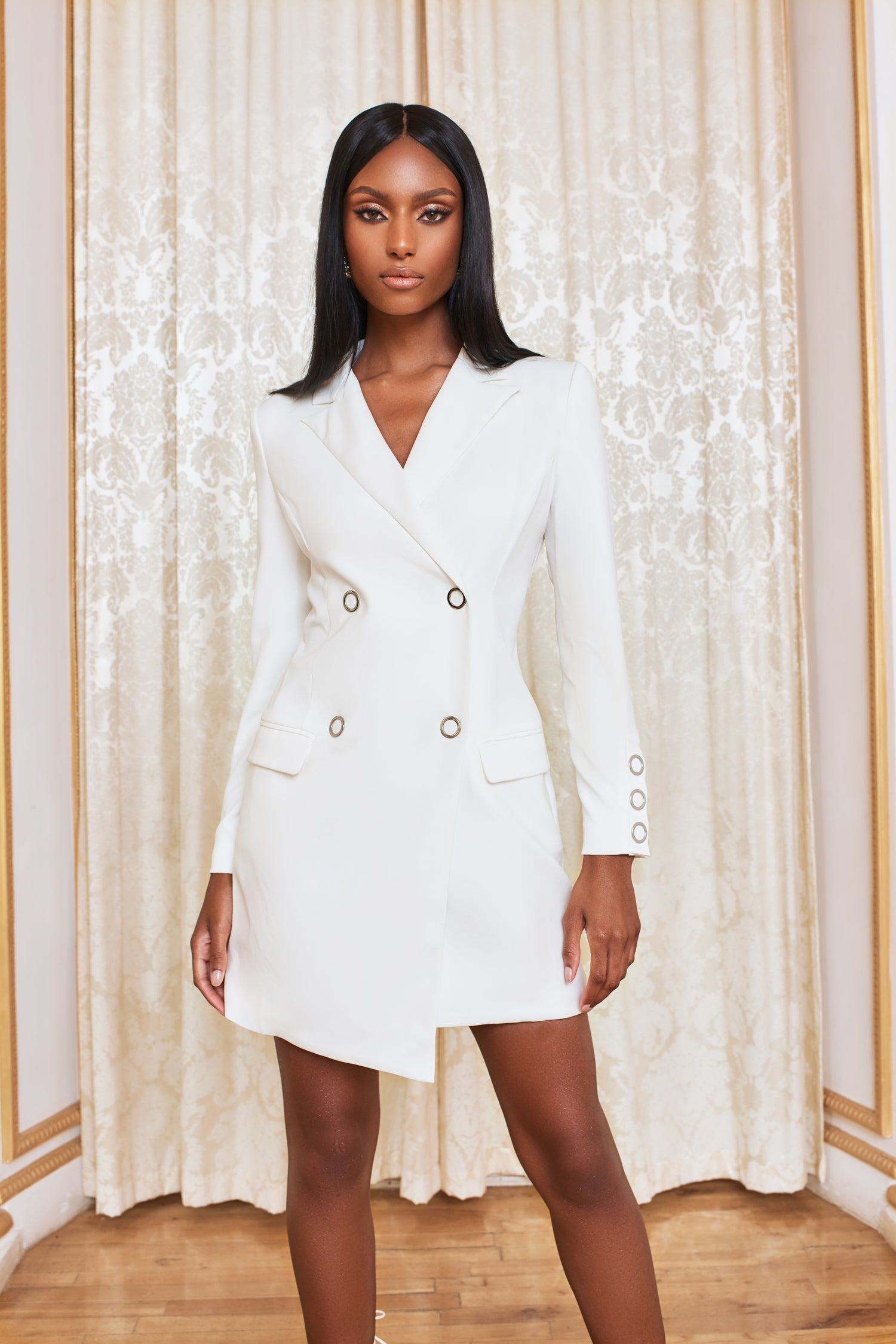 Silver Popper Detail Mini Blazer Dress in White
