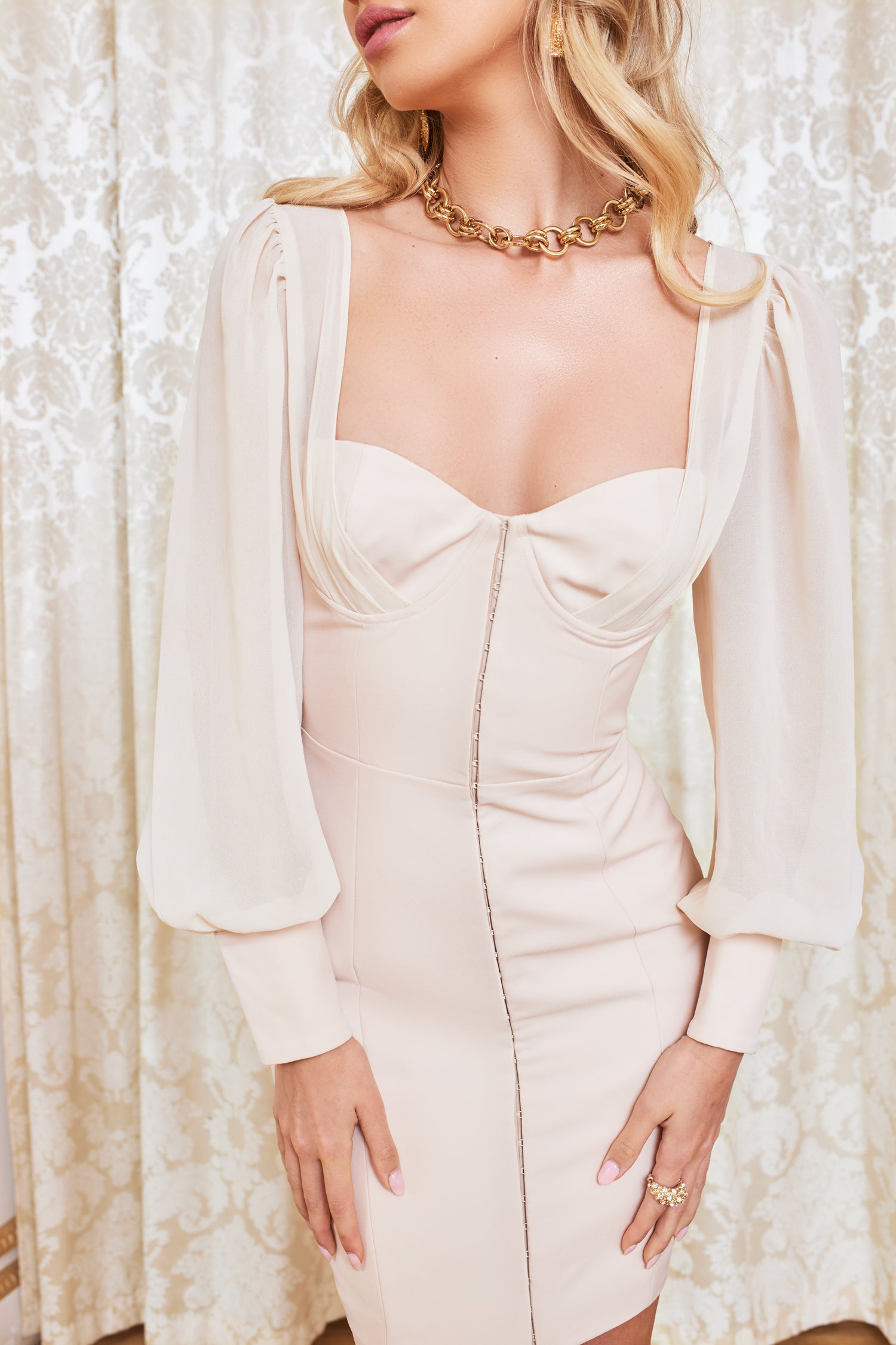 Chiffon Mix Blouson Corset Mini Dress in Champagne