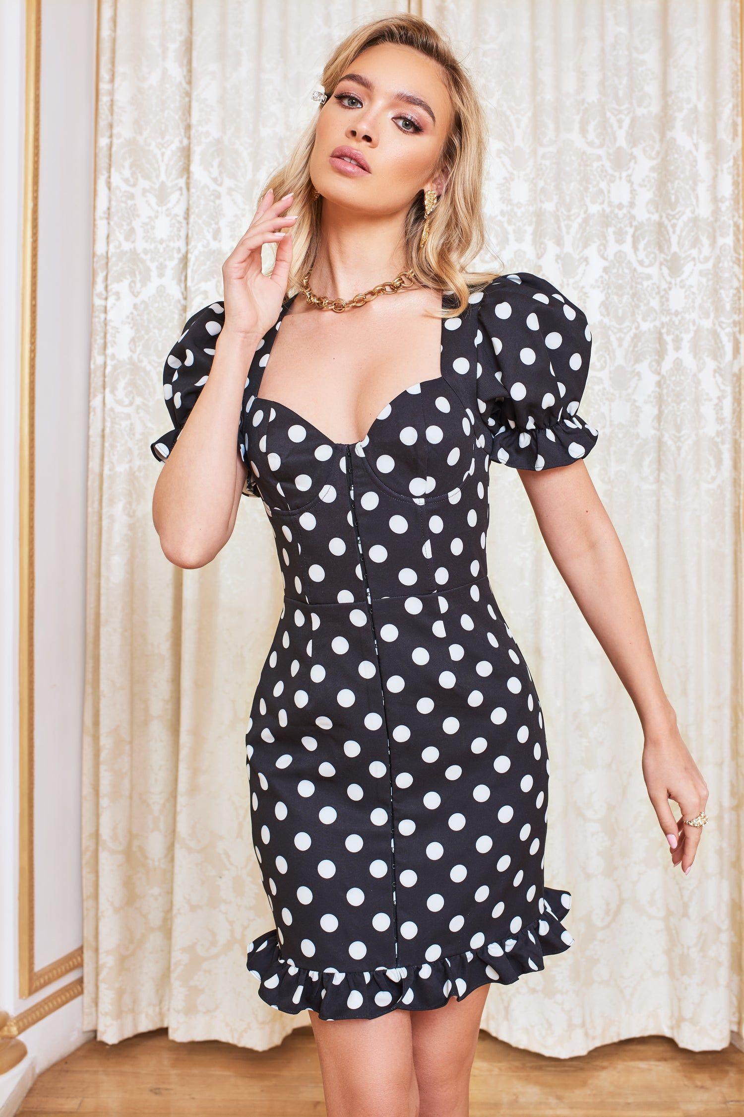 Underwired Corset Puff Sleeve Mini Dress in Black Spot