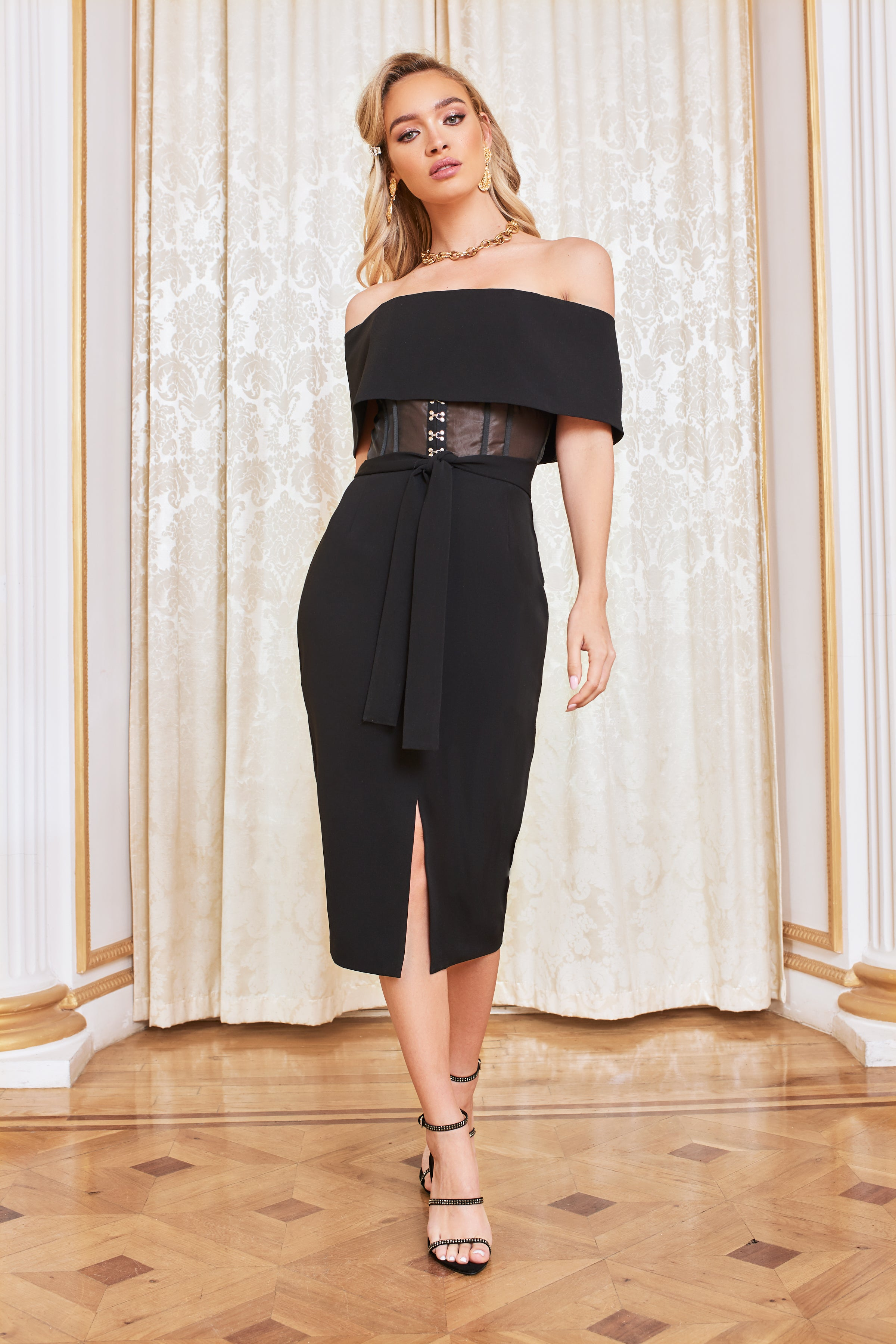 Lavish Alice Sheer Corset Bardot Midi Dress in Black