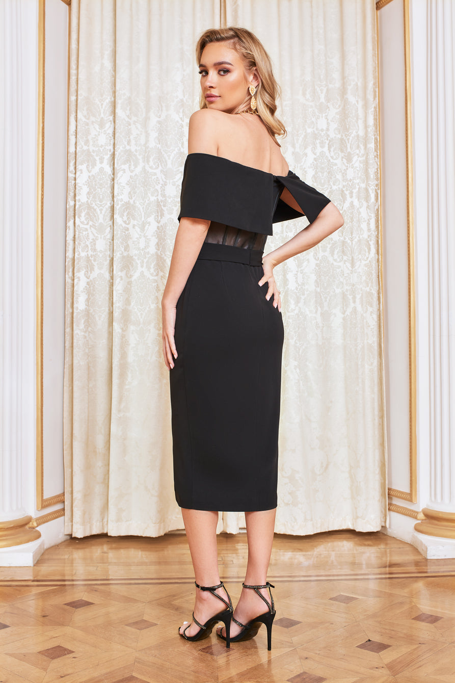 Sheer Corset Bardot Midi Dress in Black