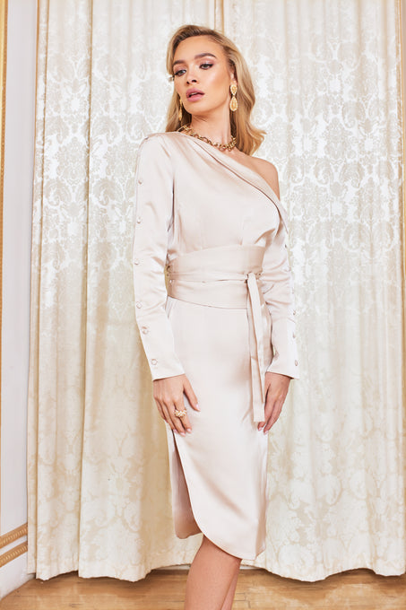 Off The Shoulder Satin Shirt Dress in Champagne