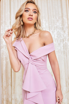 Twisted Ruffle Midi Dress in Lilac