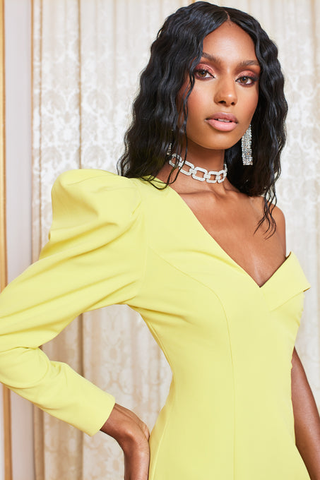 Puff Sleeve Mini Dress in Yellow Lime