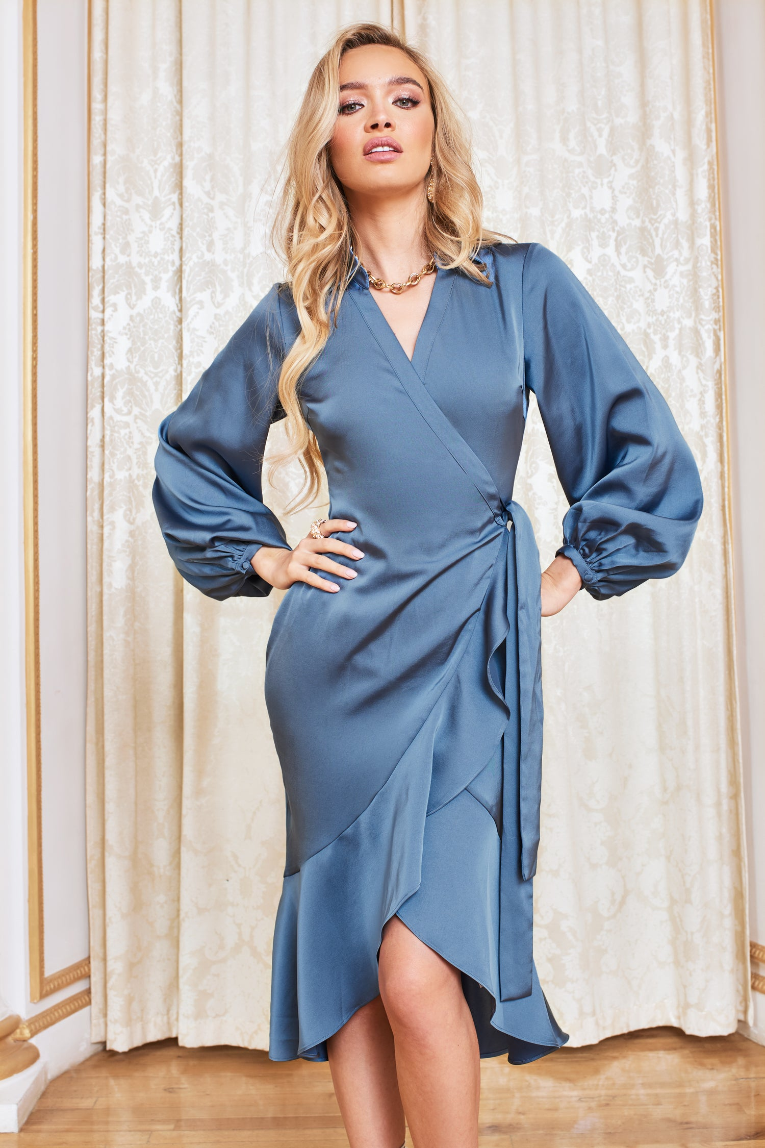 Satin Balloon Sleeve Wrap Dress in Steel Blue