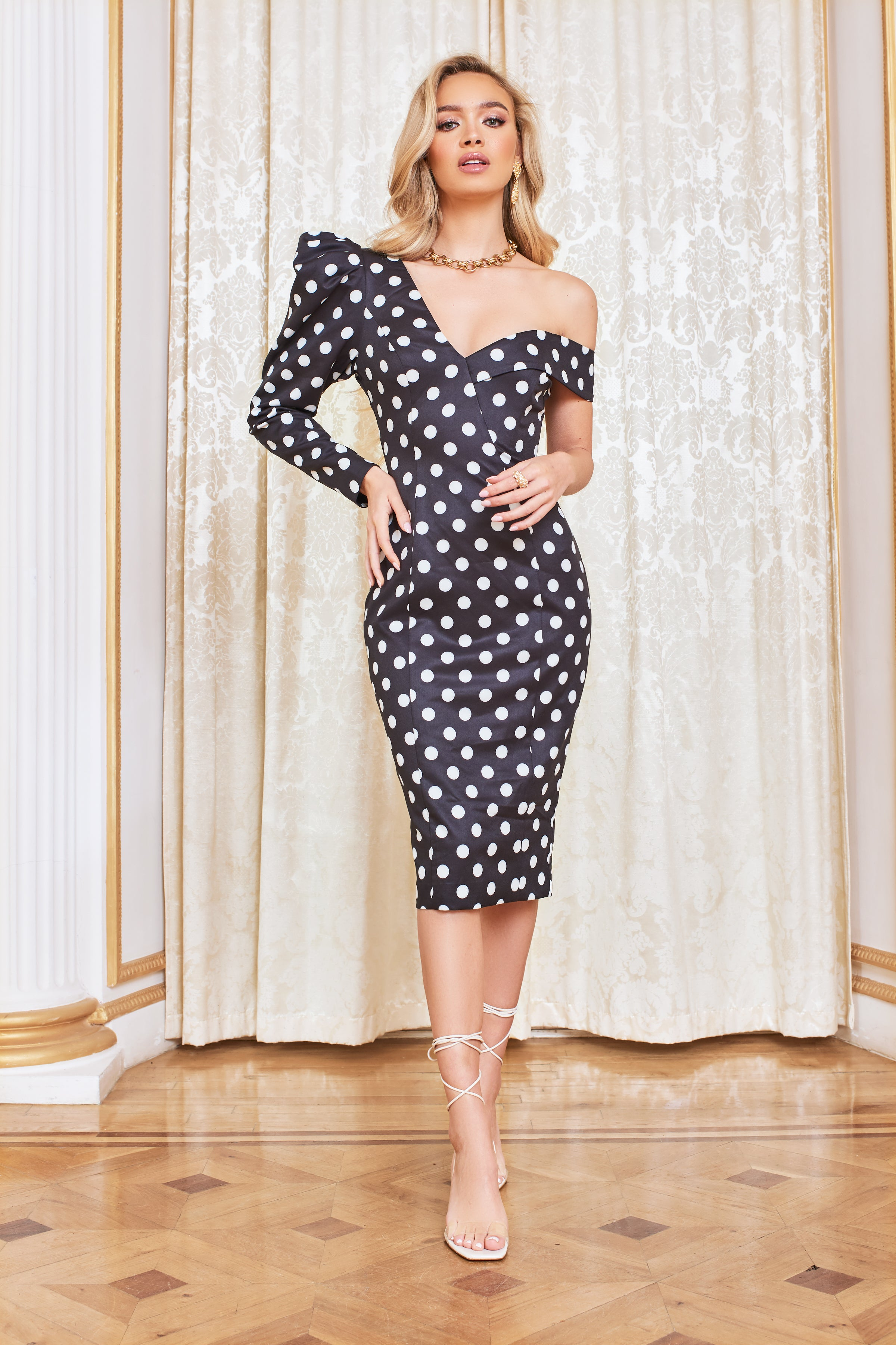 Lavish Alice Puff Sleeve Midi Dress in Black Spot