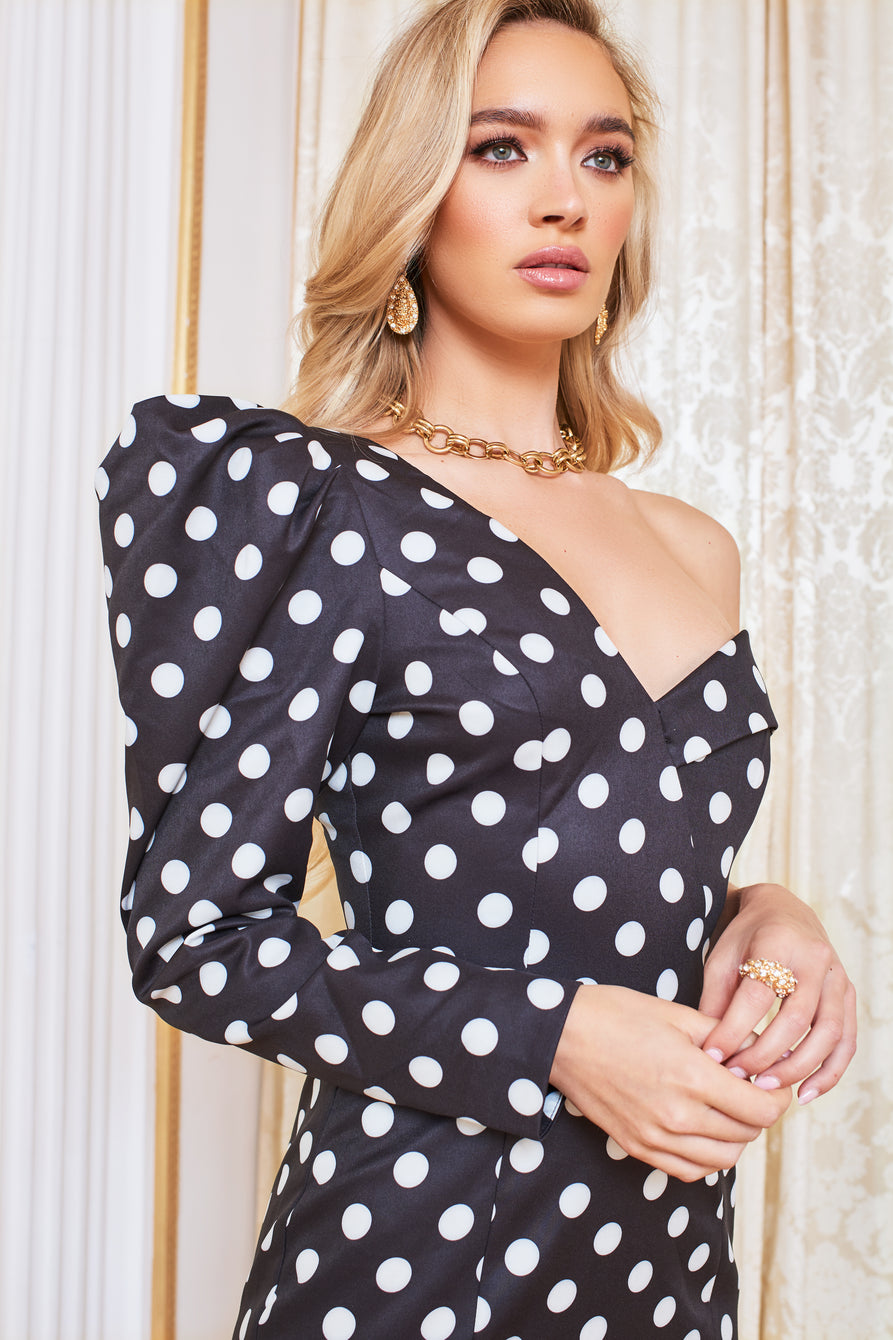 Puff Sleeve  Midi Dress in Black Spot