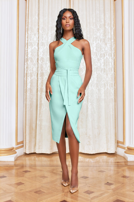 Obi Belted Halterneck Midi Dress in Mint
