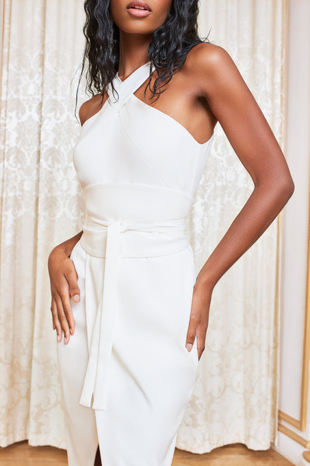 Obi Belted Halter Neck Midi Dress in White