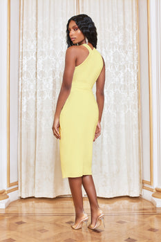Obi Belted Halter Neck Midi Dress in Lemon Yellow