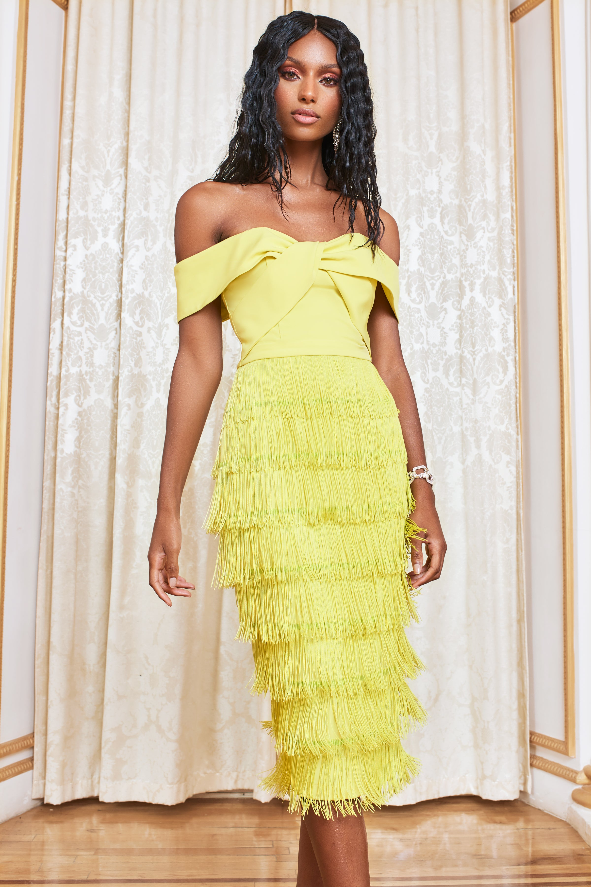Lavish Alice Bardot Fringe Midi Dress in Yellow Lime